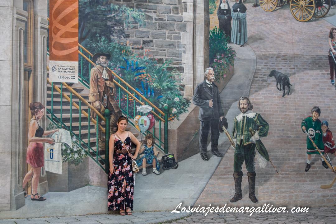Fresco de Quebec en la calle notre Dame, Quebec en un día, ruta a pie - Los viajes de Margalliver